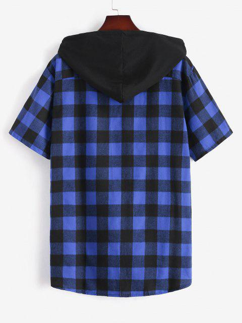 fancy Plaid Print Front Pocket Hooded Shirt - BLUE XXL Mobile