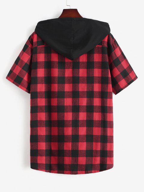 Chemise à Capuche à Carreaux Imprimée avec Poche en Avant - Rouge M Mobile
