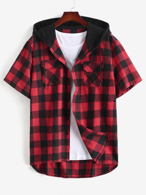 Plaid Print Front Pocket Hooded Shirt - أحمر L Mobile