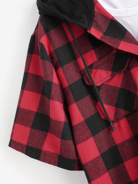Camicia a Quadretti con Cappuccio e Tasca Frontale - Rosso L Mobile