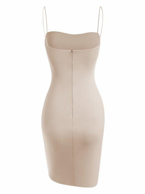 outfit Bungee Strap Double-layered Slinky Bodycon Dress - LIGHT COFFEE S Mobile