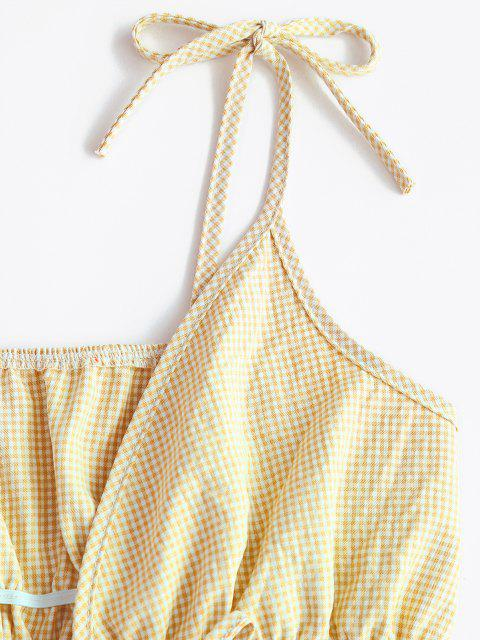 womens Spaghetti Strap Tie Gingham Ruffled Hem Crop Top - YELLOW S Mobile