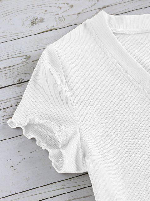 ZAFUL T-shirt Court Côtelé Boutonné à Ourlet en Laitue - Blanc S Mobile