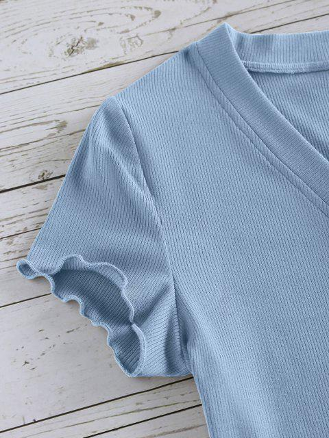 best ZAFUL Lettuce Trim Button Up Ribbed Cropped Tee - LIGHT BLUE S Mobile