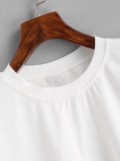 online Boxy Raw Hem Marled Crop Tee - WHITE S Mobile