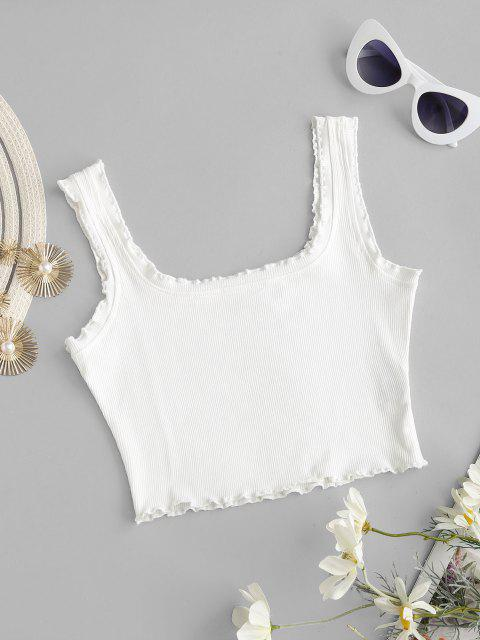 womens Cropped Ribbed Lettuce Trim Tank Top - WHITE S Mobile