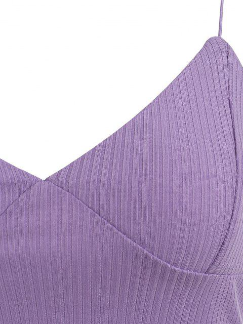 hot Bungee Strap Ribbed Cropped Camisole - LIGHT PURPLE S Mobile