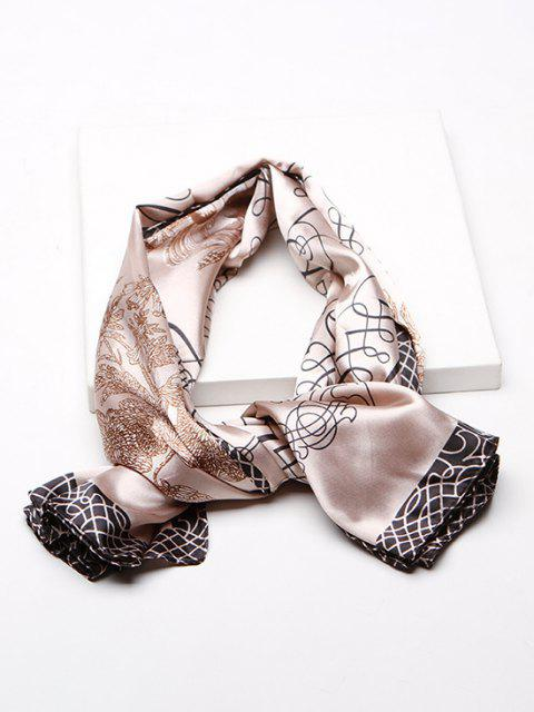 outfits Rose Scribble Print Faux Silk Square Scarf - LIGHT KHAKI  Mobile