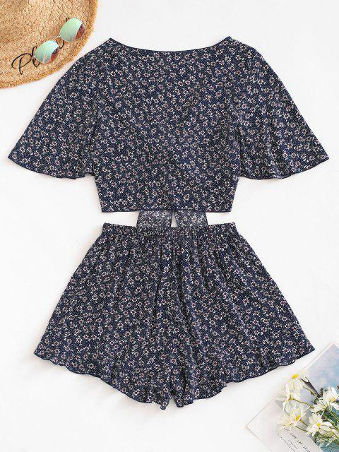 ZAFUL Ditsy Print Tied Ruffle Wide Leg Shorts Set - ازرق غامق S Mobile
