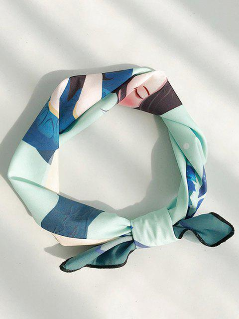 fancy Figure Print Square Faux Silk Mini Scarf - LIGHT SEA GREEN  Mobile