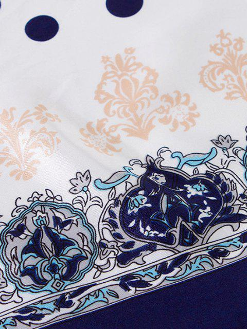 Sciarpa Filata Lunga con Motivo Floreale a Pois - Cadetblue  Mobile