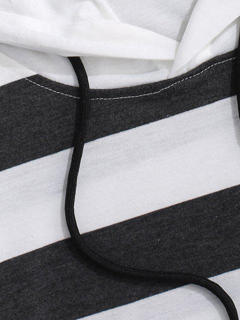 fancy Striped Drawstring Short Sleeve Hooded T-Shirt - DARK GRAY M Mobile