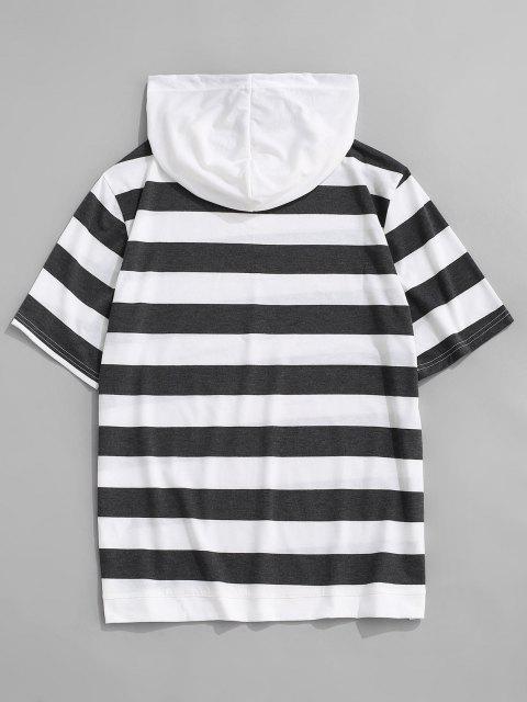 Striped Drawstring Short Sleeve Hooded T-Shirt - الرمادي الداكن L Mobile