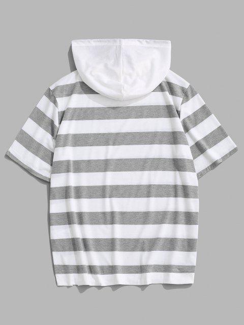 Camisola com Capuz de Mangas Curtas com Cordão - Cinza claro L Mobile