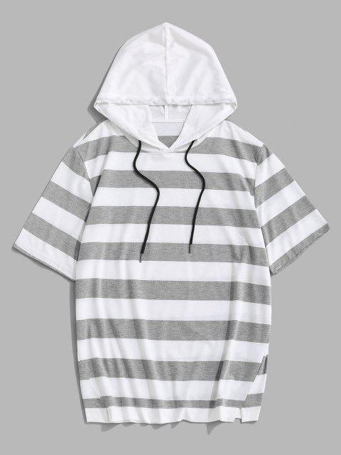 Striped Drawstring Short Sleeve Hooded T-Shirt - رمادي فاتح XXL Mobile