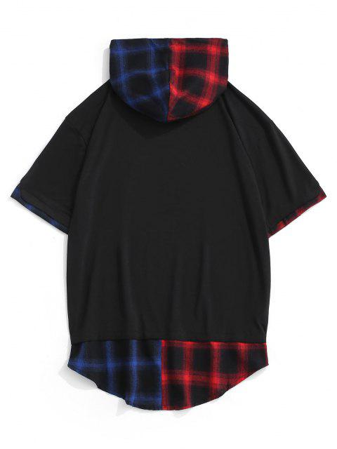 new Colorblock Spliced Plaid Hooded T-Shirt - BLACK M Mobile