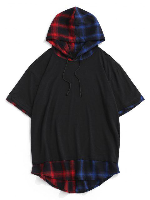 new Colorblock Spliced Plaid Hooded T-Shirt - BLACK XXL Mobile