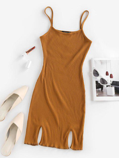 shop ZAFUL Ribbed Slit Bodycon Cami Dress - DEEP YELLOW L Mobile
