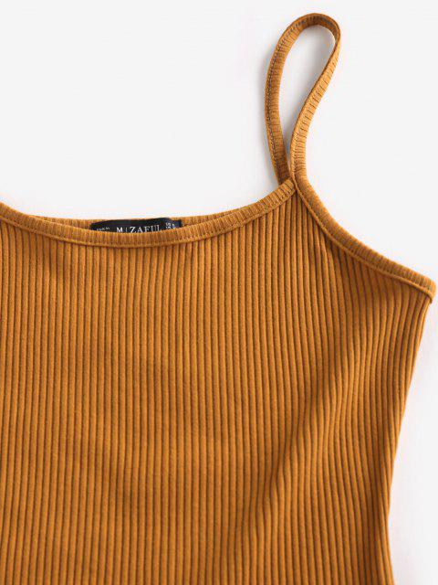 shops ZAFUL Ribbed Slit Bodycon Cami Dress - DEEP YELLOW M Mobile