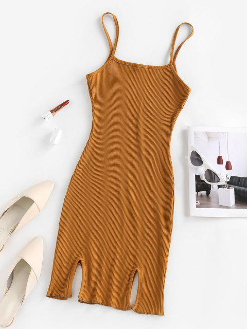 affordable ZAFUL Ribbed Slit Bodycon Cami Dress - DEEP YELLOW S Mobile