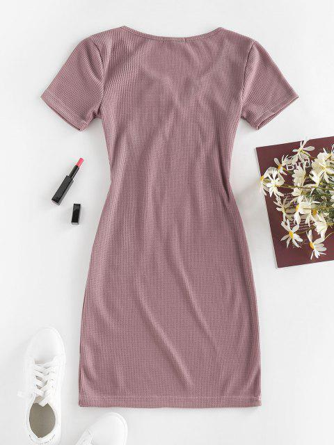 womens ZAFUL Knitted V Notch Bodycon Dress - PURPLE S Mobile