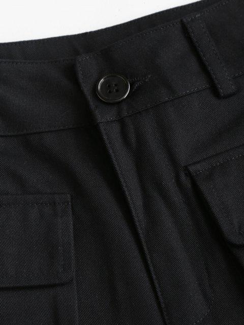 Short Cargo Taille Haute avec Poches en Avant - Noir L Mobile