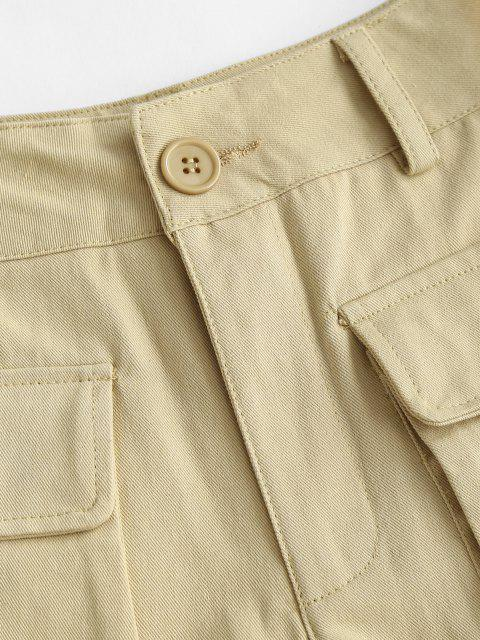 chic High Waisted Front Pockets Cargo Shorts - LIGHT COFFEE S Mobile