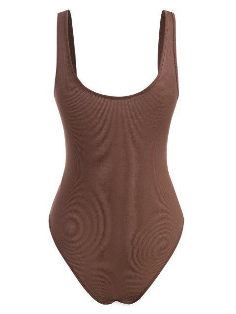 shops Basic Rib-knit Tank Bodysuit - COFFEE S Mobile