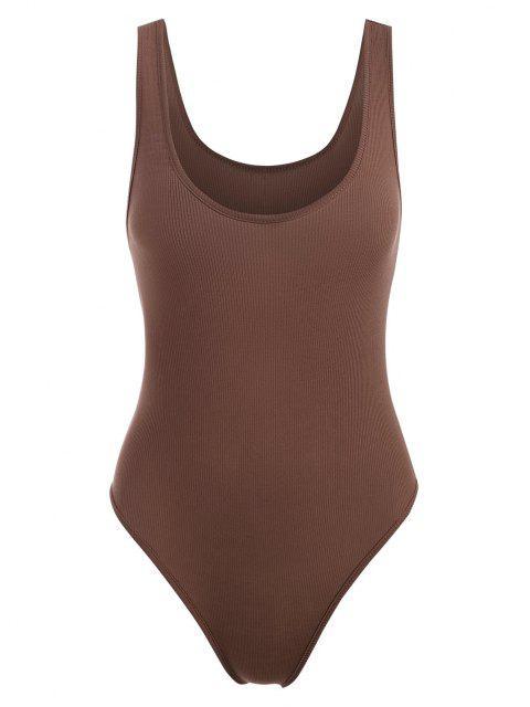 women's Basic Rib-knit Tank Bodysuit - COFFEE M Mobile