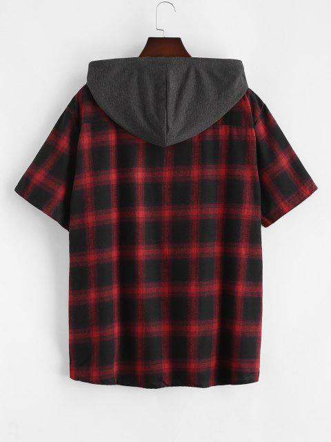 unique Plaid Print Short Sleeve Casual Hooded Shirt - RED L Mobile