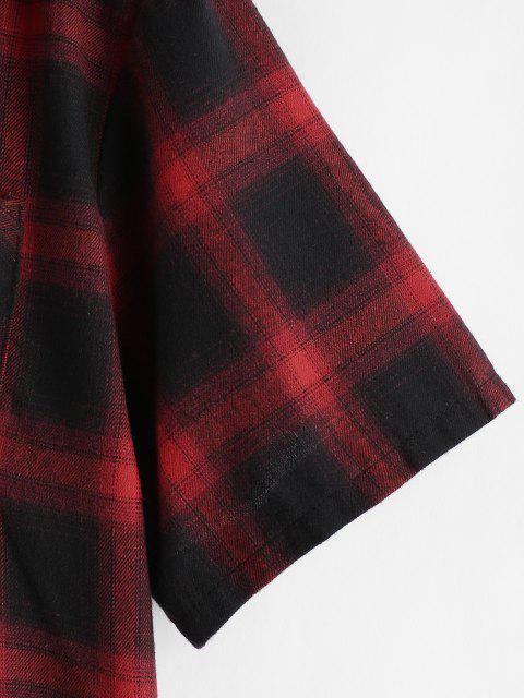 Chemise à Capuche Décontractée à Carreaux Imprimée à Manches Courtes - Rouge XL Mobile