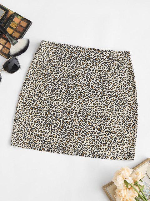 unique Leopard Split Hem Mini Skirt - COFFEE S Mobile