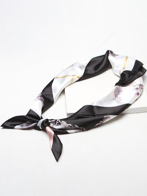 Foulard Carré Floral Chaîne Imprimée en Fausse Soie - Multi-A  Mobile