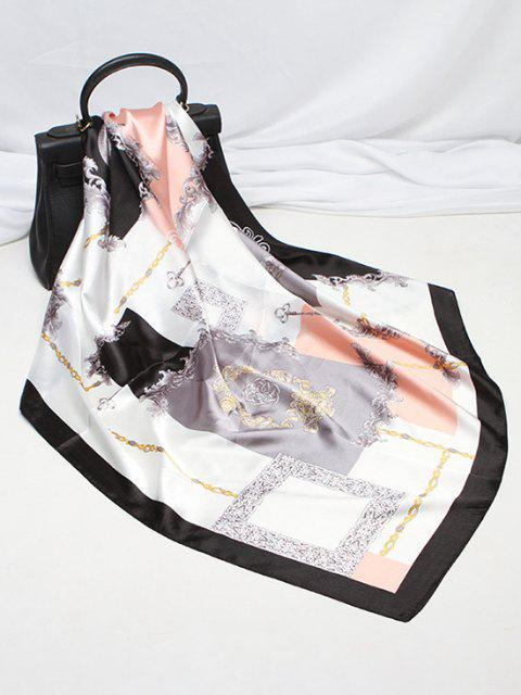Floral Chain Print Square Faux Silk Scarf - متعددة-A  Mobile