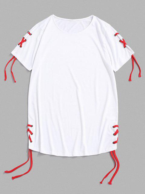 new Solid Lace Up Round Hem Casual T-Shirt - WHITE XXL Mobile