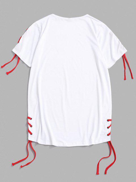 T-shirt Décontracté en Couleur Unie Ourlet Rond à Lacets - Blanc XL Mobile