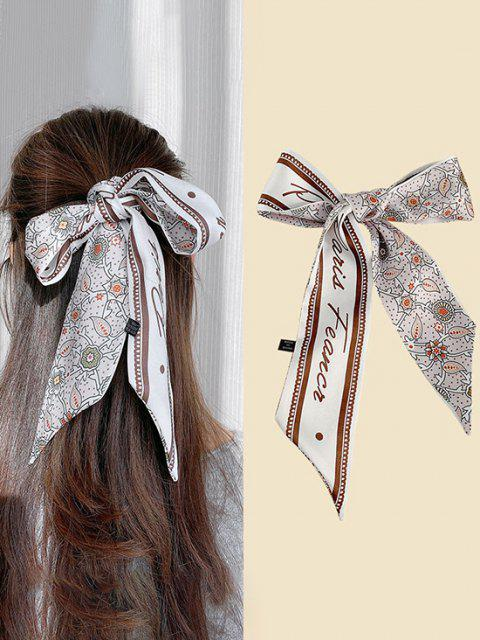 trendy Floral Half Print Elongated Silky Scarf - MULTI-C  Mobile