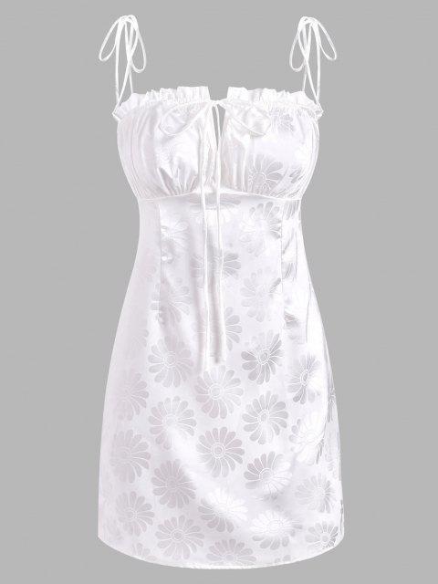 Floral Jacquard Tie Ruched Frilled Dress - أبيض L Mobile