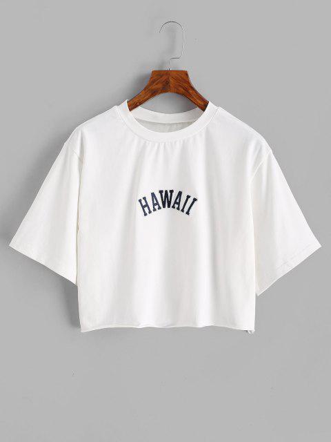 T-shirt Especial de Emagrecimento Bainha Desgastada - Branco S Mobile