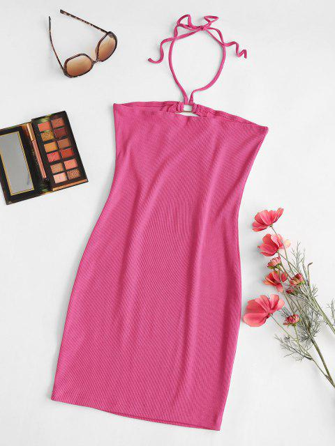 best Ribbed Cutout Halter Tied Bodycon Dress - LIGHT PINK S Mobile