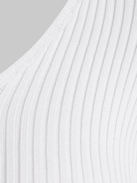 T-shirt en Tricot Côtelé à Manches Courtes - Blanc S Mobile