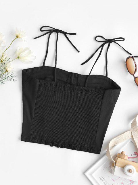 unique Tie Smocked Back Bustier Cami Top - BLACK M Mobile
