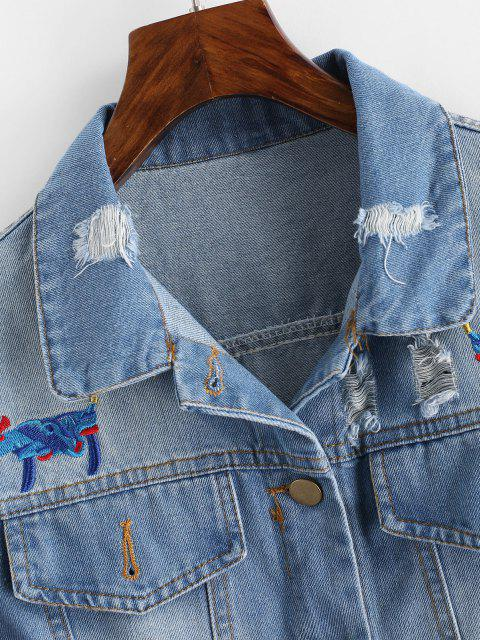 women's Floral Bird Embroidered Raw Hem Ripped Denim Jacket - BLUE L Mobile