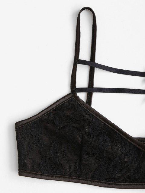 lady Lace Cutout Sheer Crop Cami Bralette Top - BLACK M Mobile
