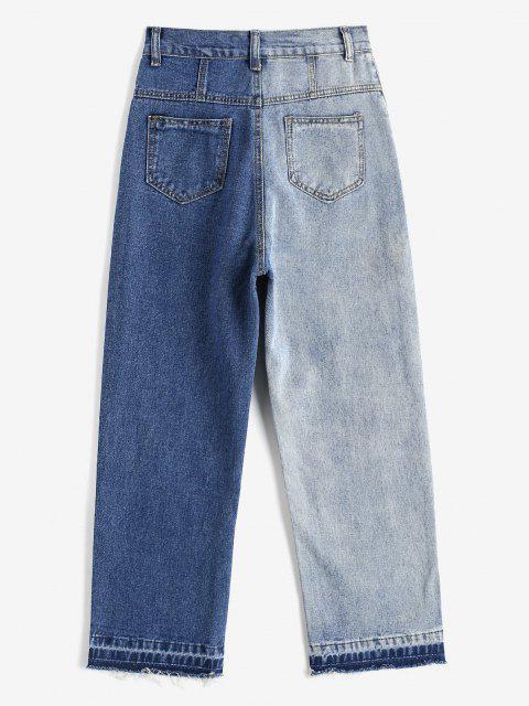 Bicolor Gerade Geschnittene Jeans mit Ausgefranstem Saum - Blaugrau M Mobile