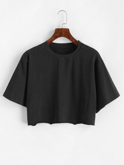 Boxy Raw Hem Marled Crop Tee - Black M