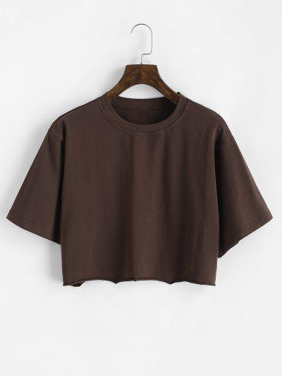 Kastige T-Shirt Mit Rohem Saum - Kaffee S