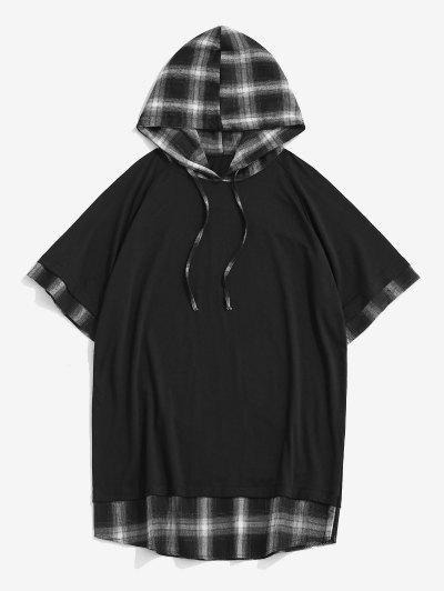 T-shirt à Capuche Décontracté à Carreaux Jointif à Cordon - Noir M