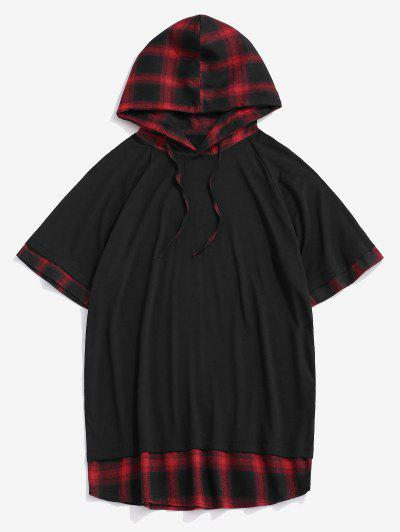 Spliced Plaid Drawstring Casual Hooded T-Shirt - Red Xxl