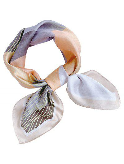 Mountain Print Square Faux Silk Scarf - Apricot